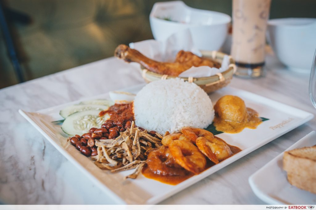 papparich nasi lemak with fried chicken and sambal prawns