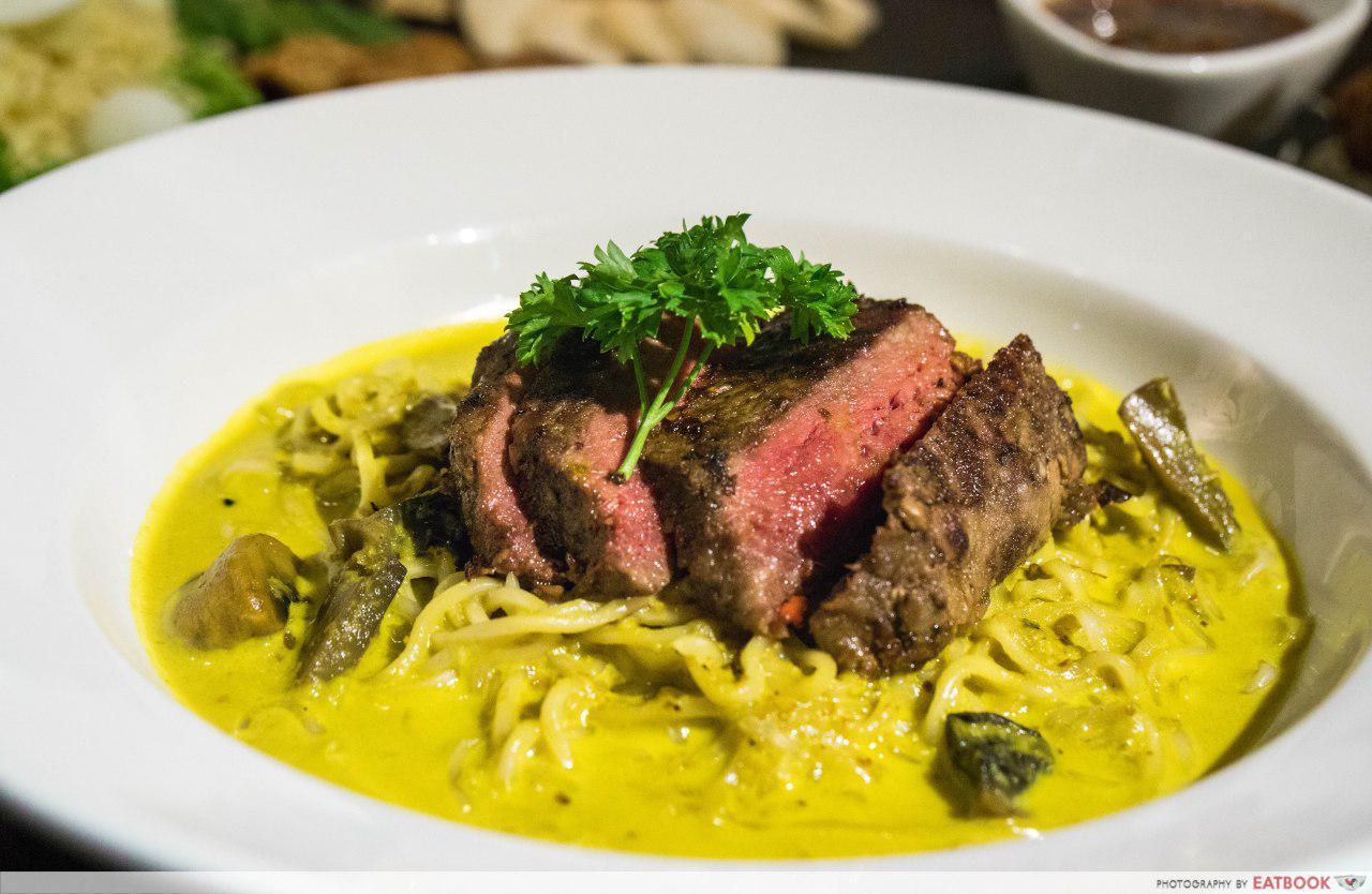 Rumah Rasa - Sliced Beef Rump with Mushrooms Indomie in Lemak Chilli Padi Sauce