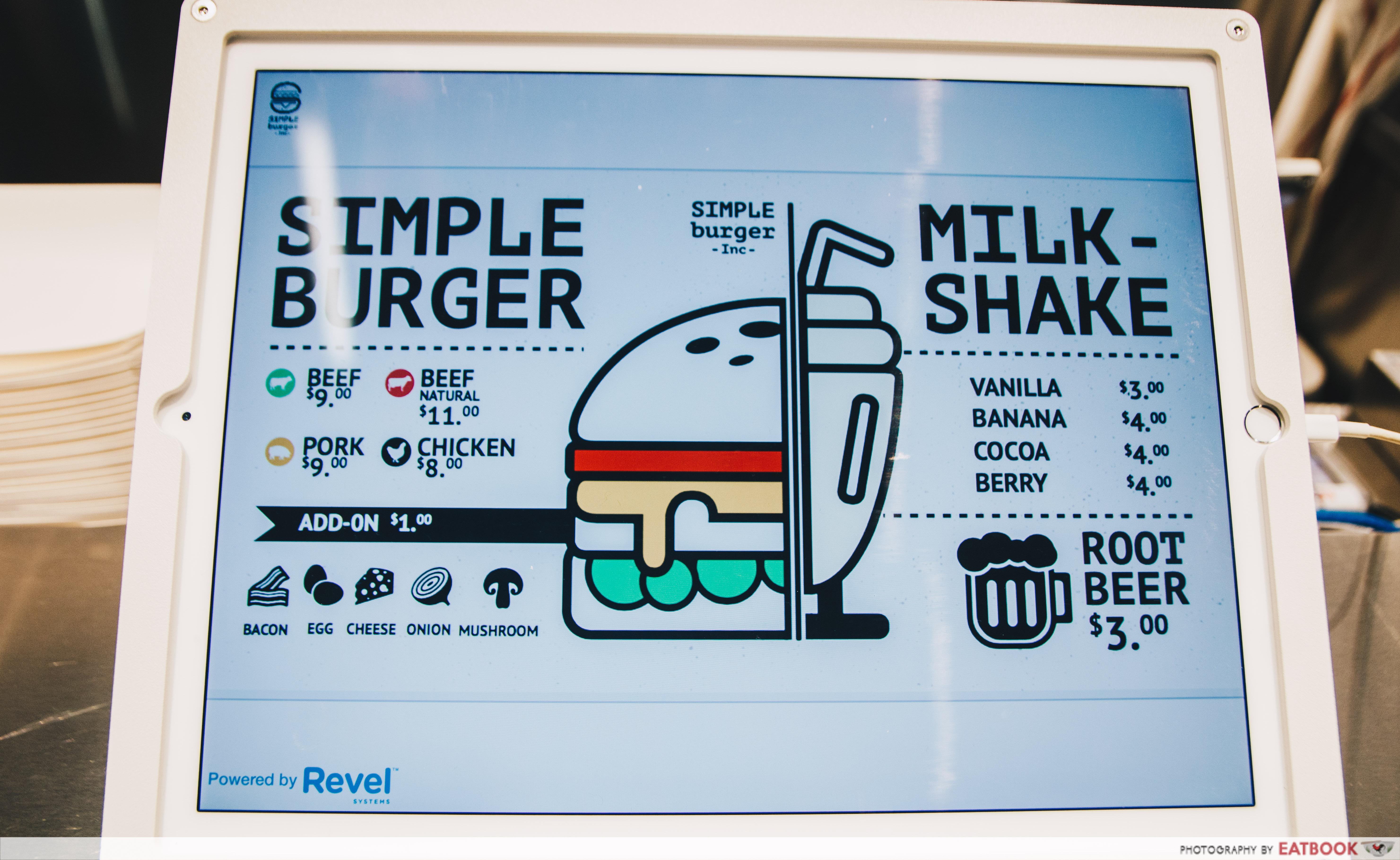 SIMPLEburger Inc. menu