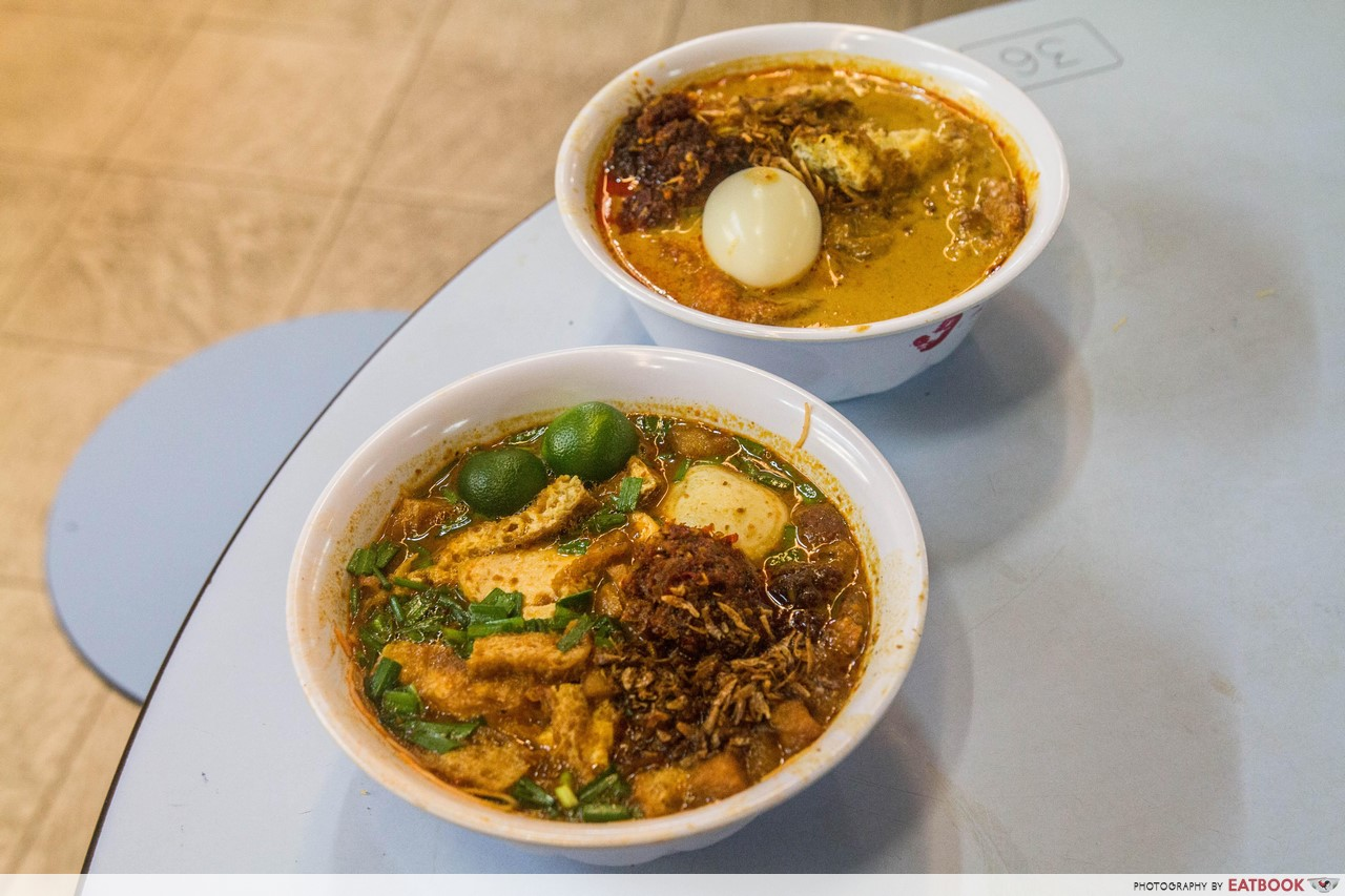 Singapore Hawker Food - Mee Siam and Lontong