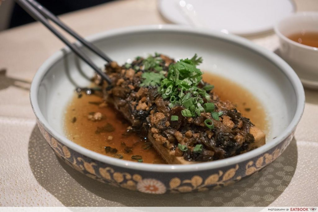 resorts world sentosa - Handmade Bean Curd Steamed with Minced Pork and Dried Preserved Vegetables