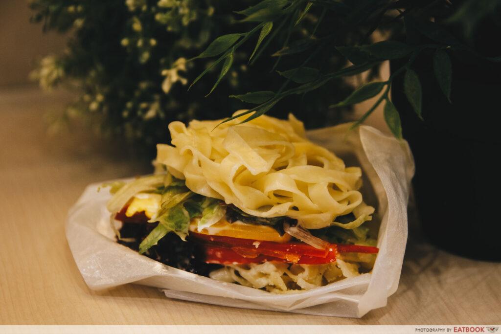 pasta burger caesar salad