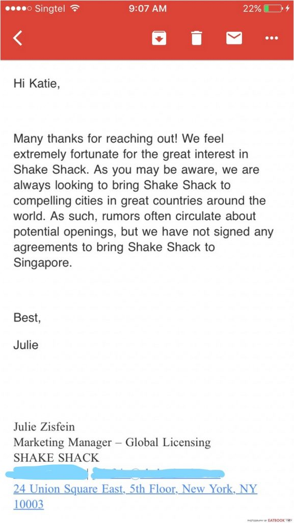 shake shack rumours singapore