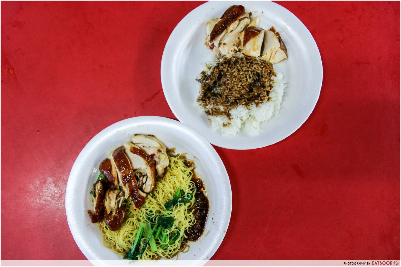 chinatown complex food- hong kong soya sauce chicken rice and noodle