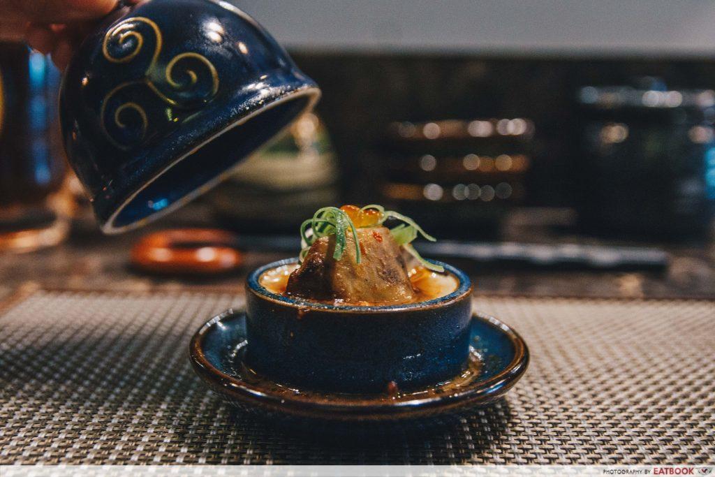 RAKUYA foie gras chawanmushi with mapo sauce