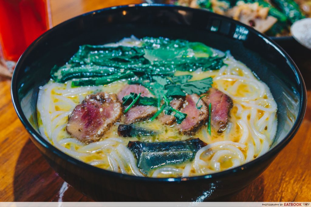 le fuse cafe salted egg smoked duck laksa