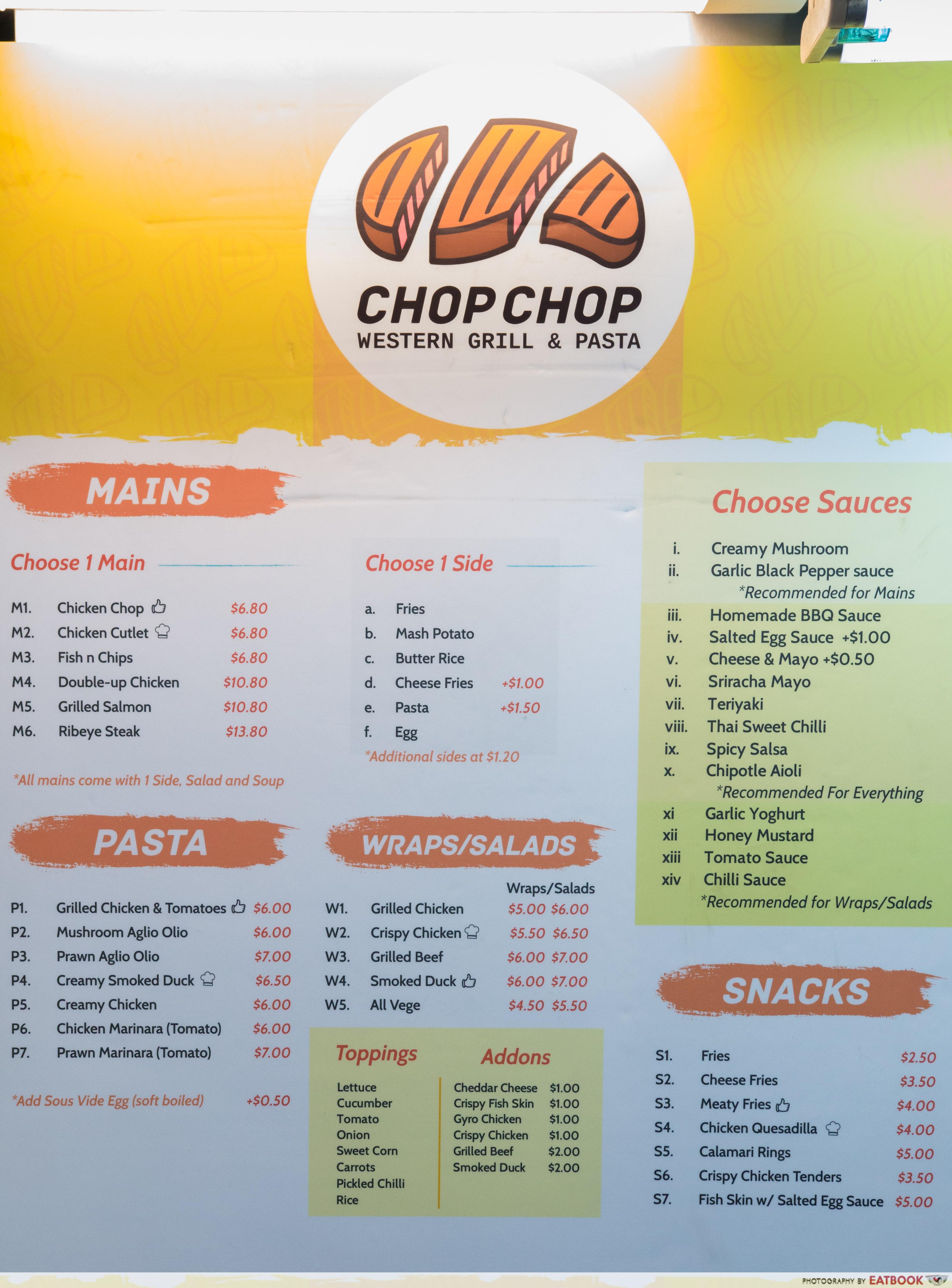 Chop Chop - menu