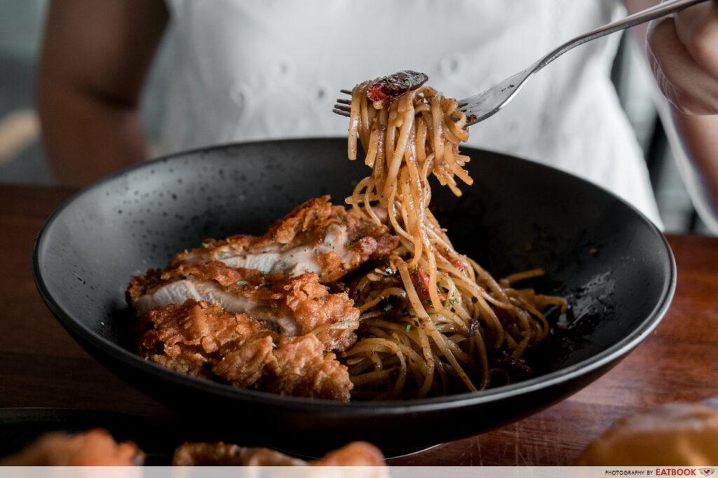 Workbench Bistro Egg Mala pasta