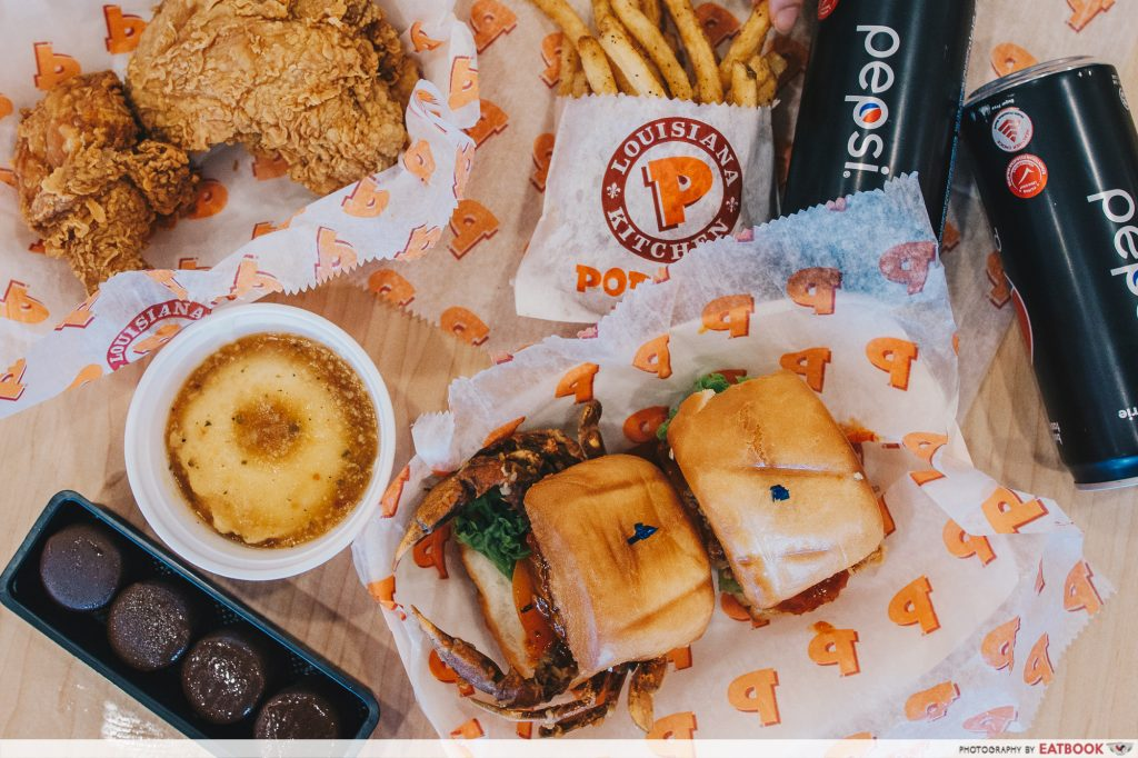 popeyes crab mantou burger friendly feast