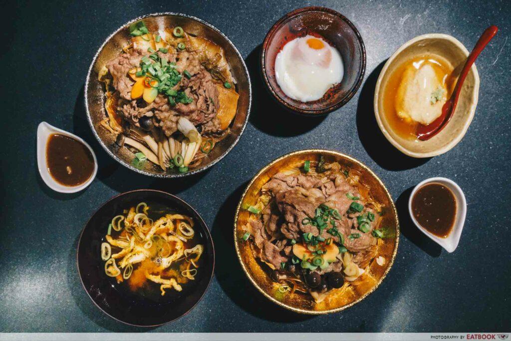 Beef Sukiyaki Don Keisuke spread