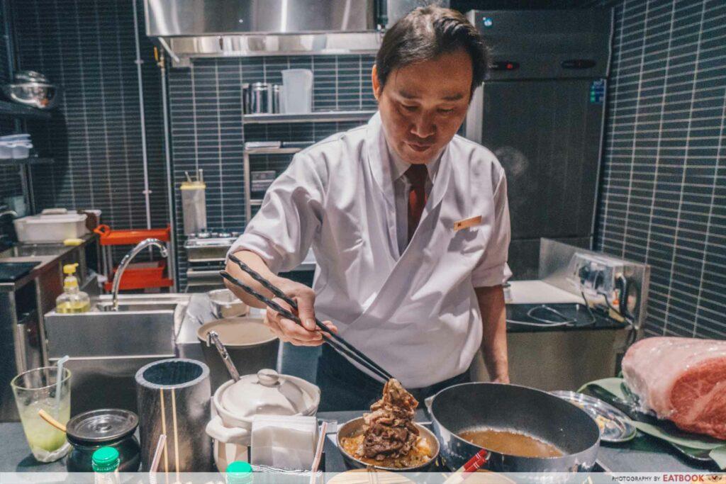 Beef Sukiyaki Don Keisuke tableside presentation
