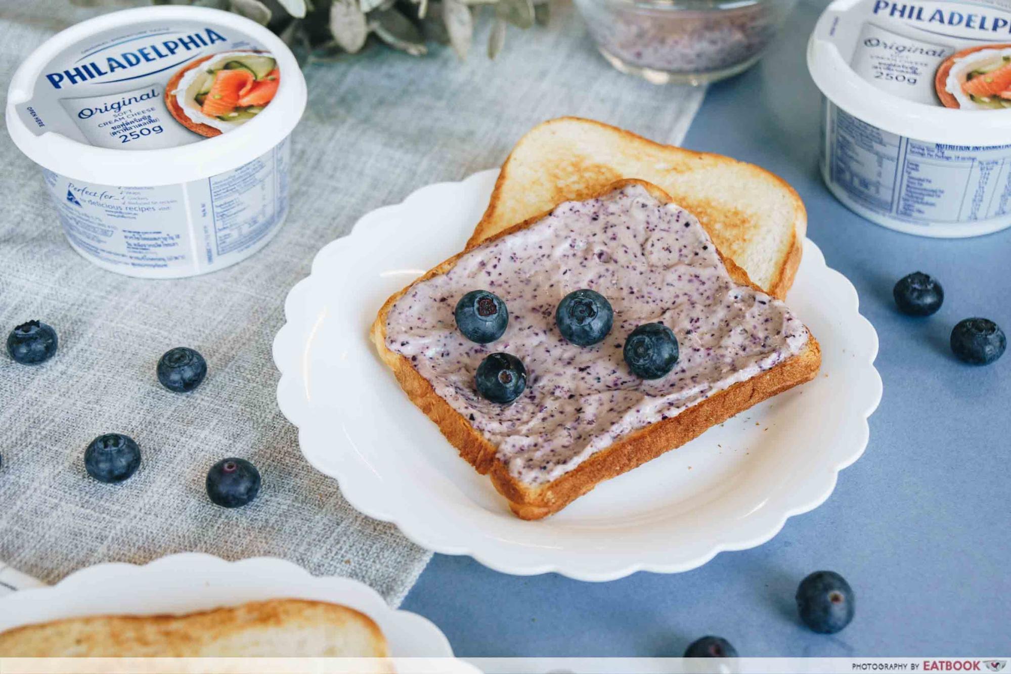 Easy Breakfast Toast Blueberry Cream Cheese Spread