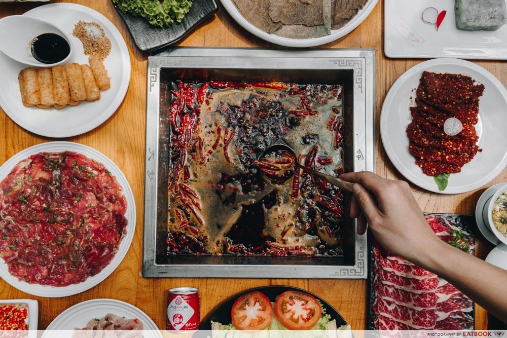 Ma La Restaurants in Town Da Miao Hot Pot Spread