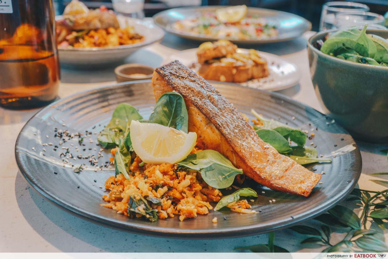 People & Places pan fried salmon kimchi cauliflower rice