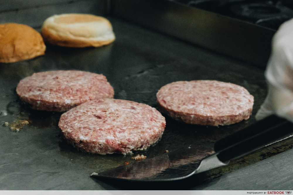 lava cheese burger beef patties
