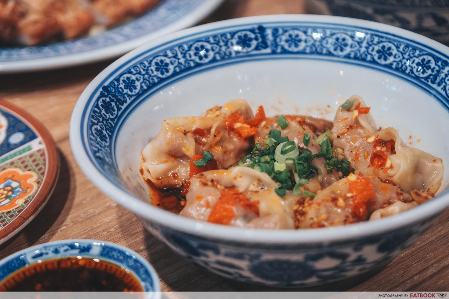 Feng Food shrimp and pork wontons with hot and spicy sauce intro