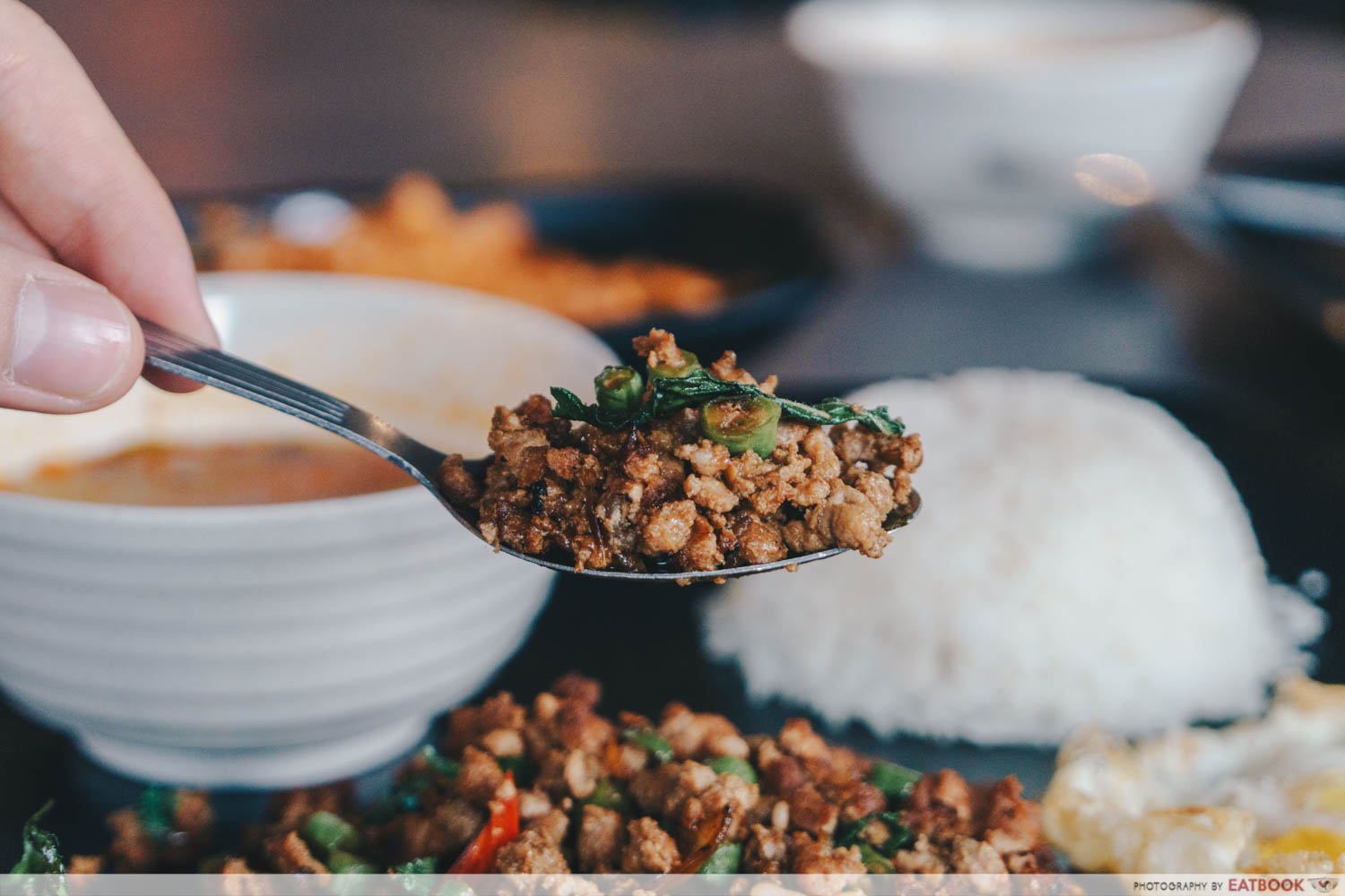 baan khun nai basil pork meat scoop