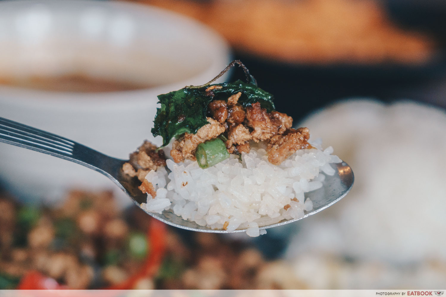 baan khun nai basil pork scoop