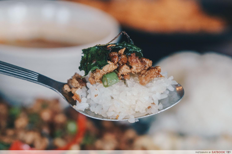 baan khun nai basil pork scoop
