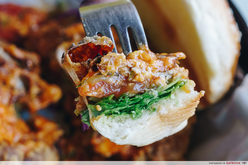 wok in burger chilli soft shell crab burger close up