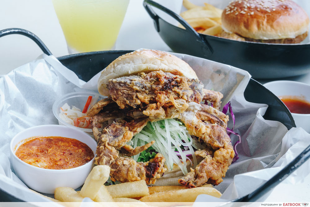wok in burger chilli soft shell crab burger intro