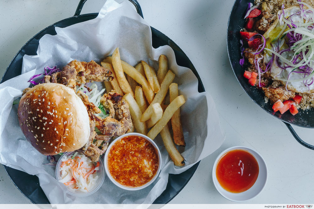 wok in burger chilli soft shell crab burger