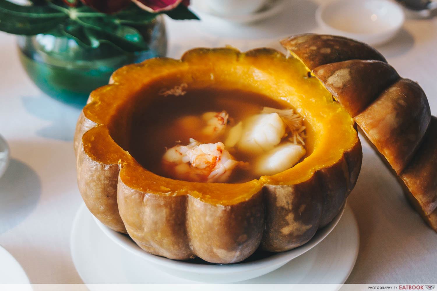 Maybank Michelin Chinese Restaurants Summer Palace double-boiled assorted seafood soup served in golden pumpkin