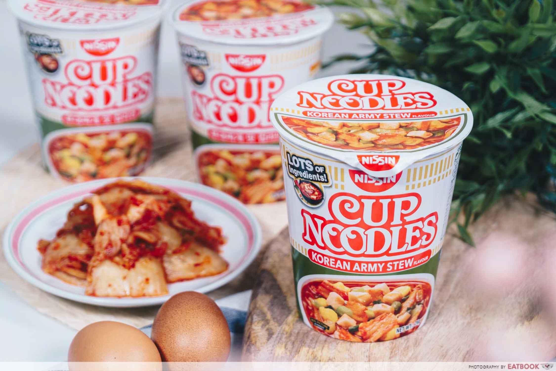 Nissin Korean Army Stew Noodles - Instant Noodles Closeup