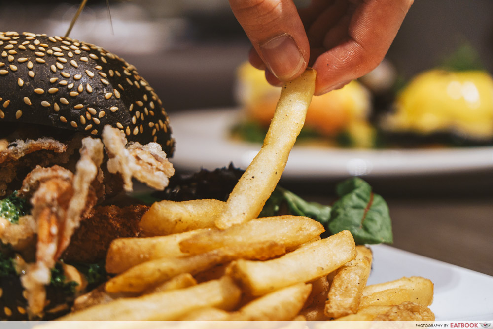 TCC seafood fiesta charcoal burger truffle fries