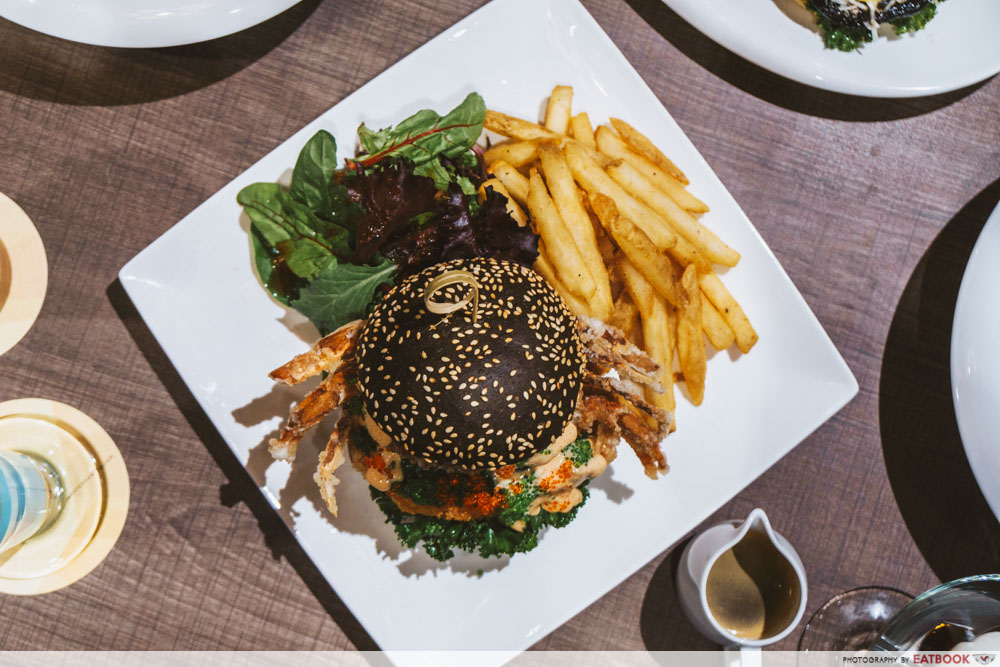 TCC seafood fiesta charcoal burger