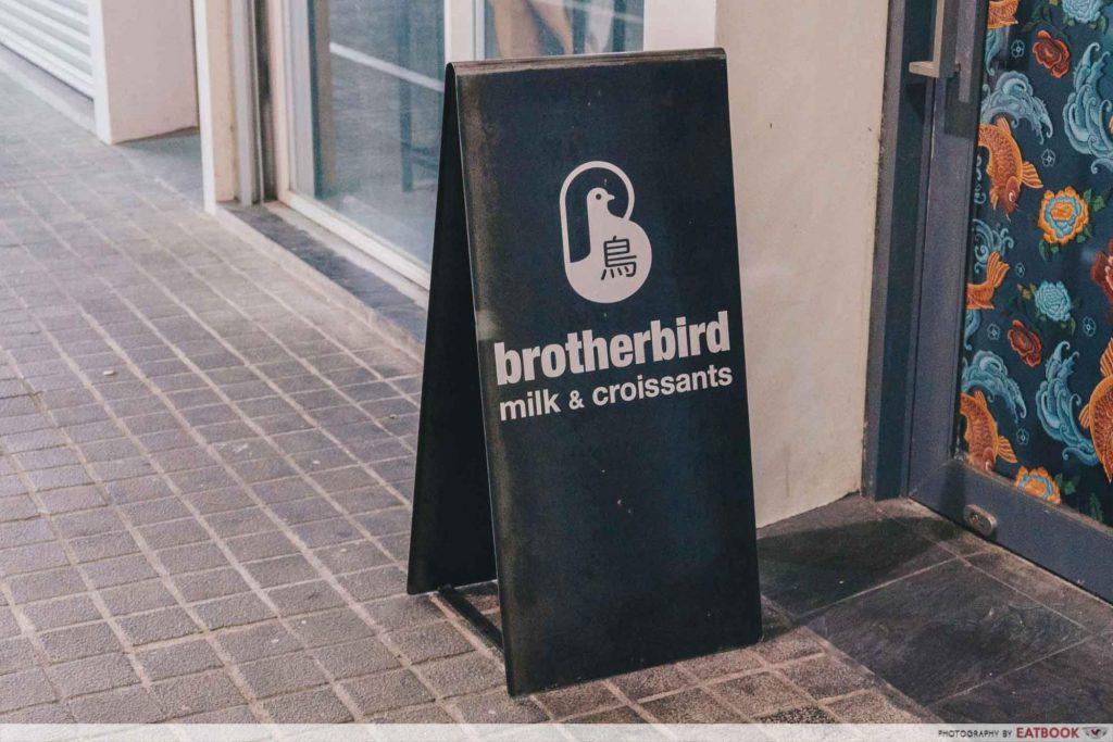 brotherbird boba croissant sign