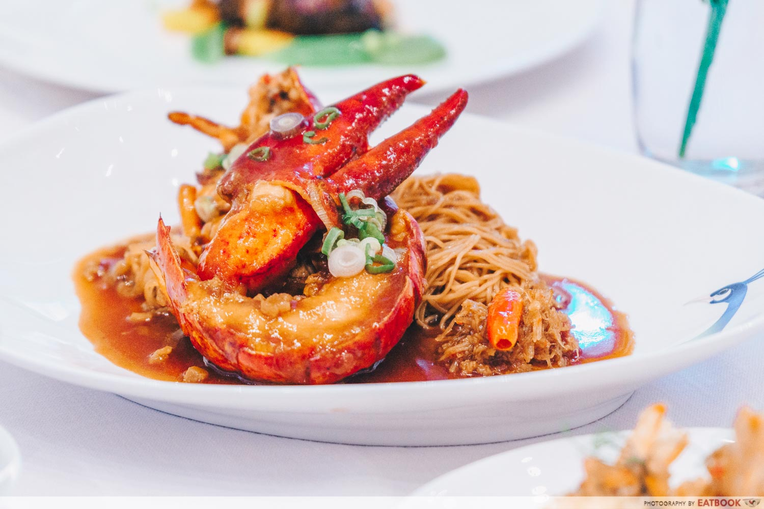 maybank michelin chinese restaurants Simmered Egg Noodles With Live Boston Lobster And Housemade X.O Chilli Sauce