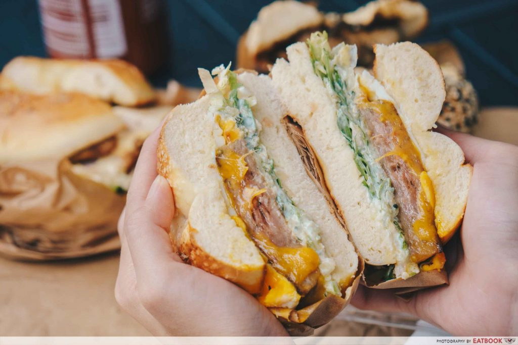 sandwiches two men bagel house