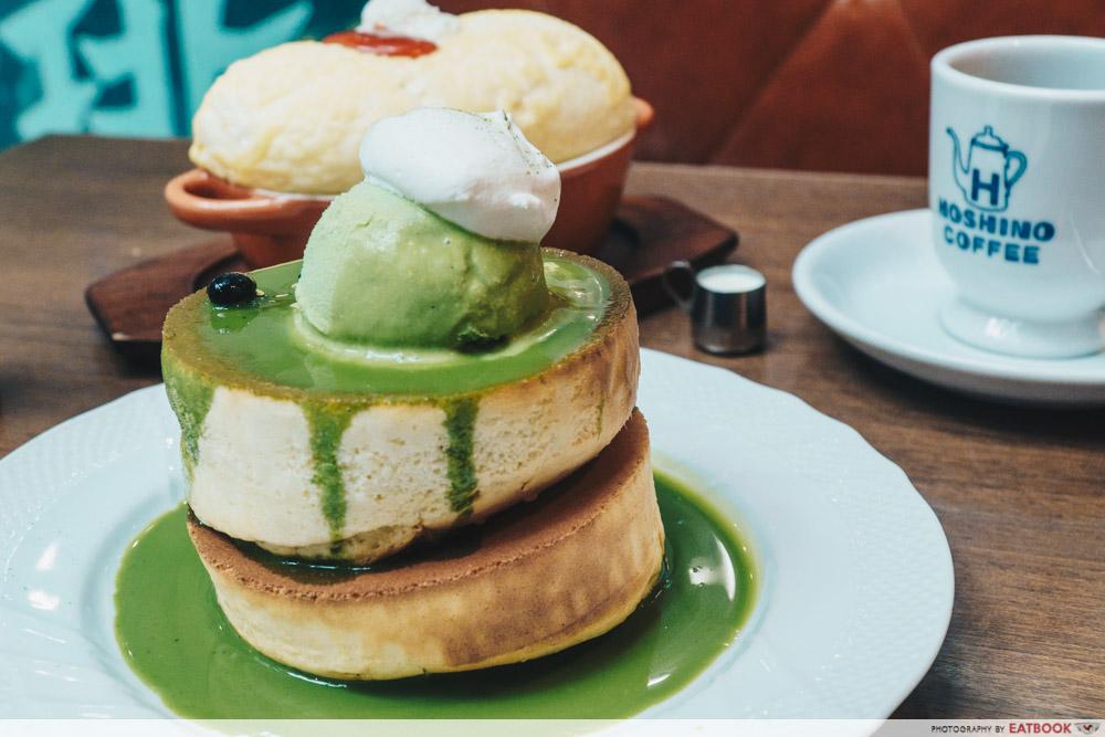 Brunch cafes Hoshino Coffee green tea pancake