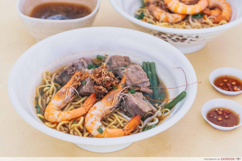 Prawn & Mee pork ribs and prawn noodles