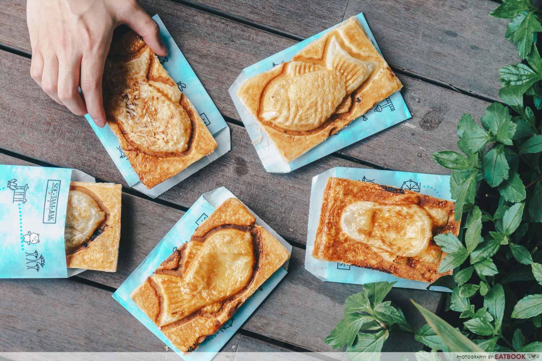 Soe Tam Jiak - flatlay taiyaki croissants