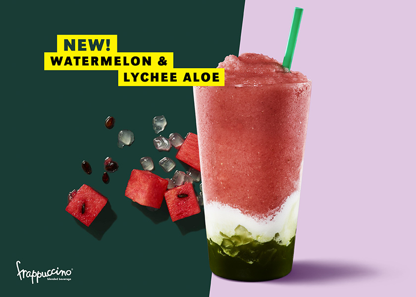 Starbucks watermelon frappuccino watermelon and lychee aloe frappuccino