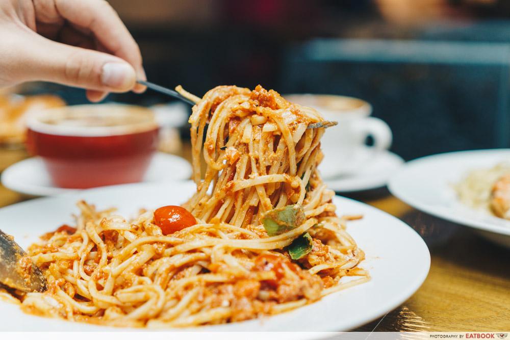 kava tomato ricotta pasta noodle pull