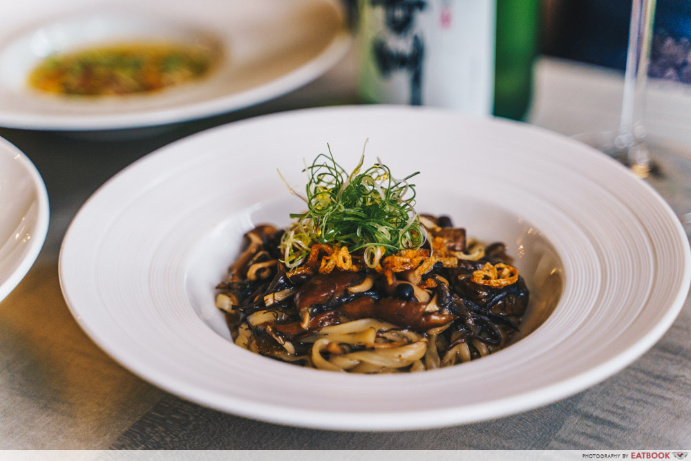 maybank michelin beautiful restaurants bam! restaurant braised inaniwa udon nameko mushroom fatt choy