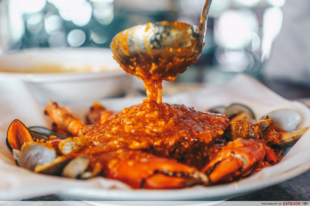 Crab doused in chilli sauce