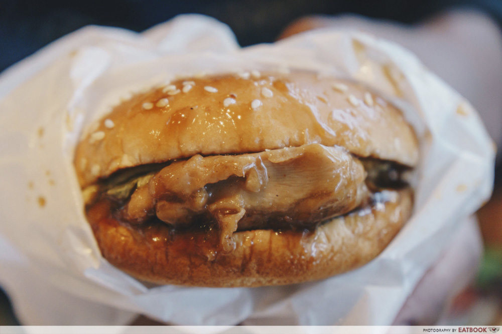 samurai burger seaweed fires chicken burger