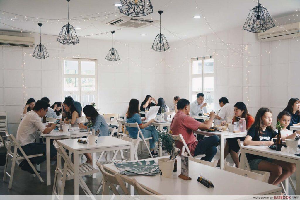 white-washed cafe