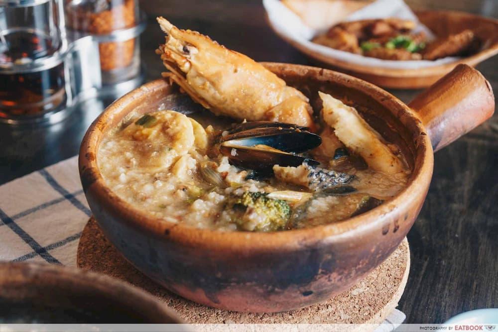 prawn in claypot porridge
