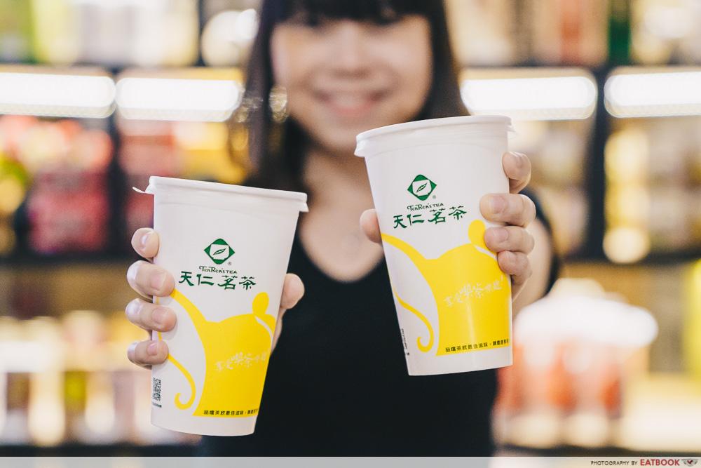 Two cups of tenren tea bubble tea