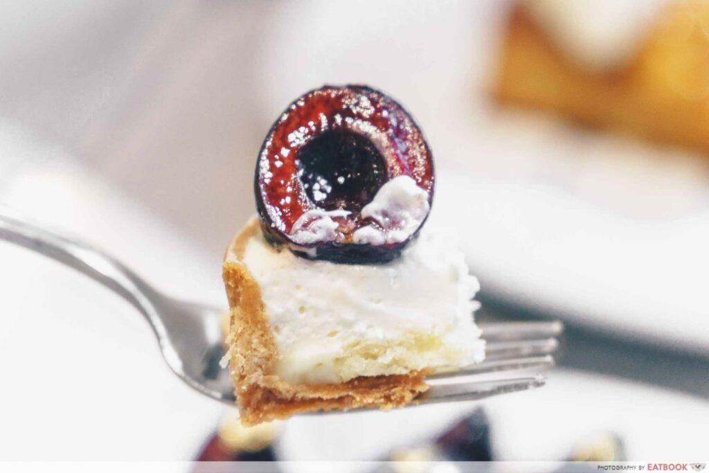 a bite of cherry tart