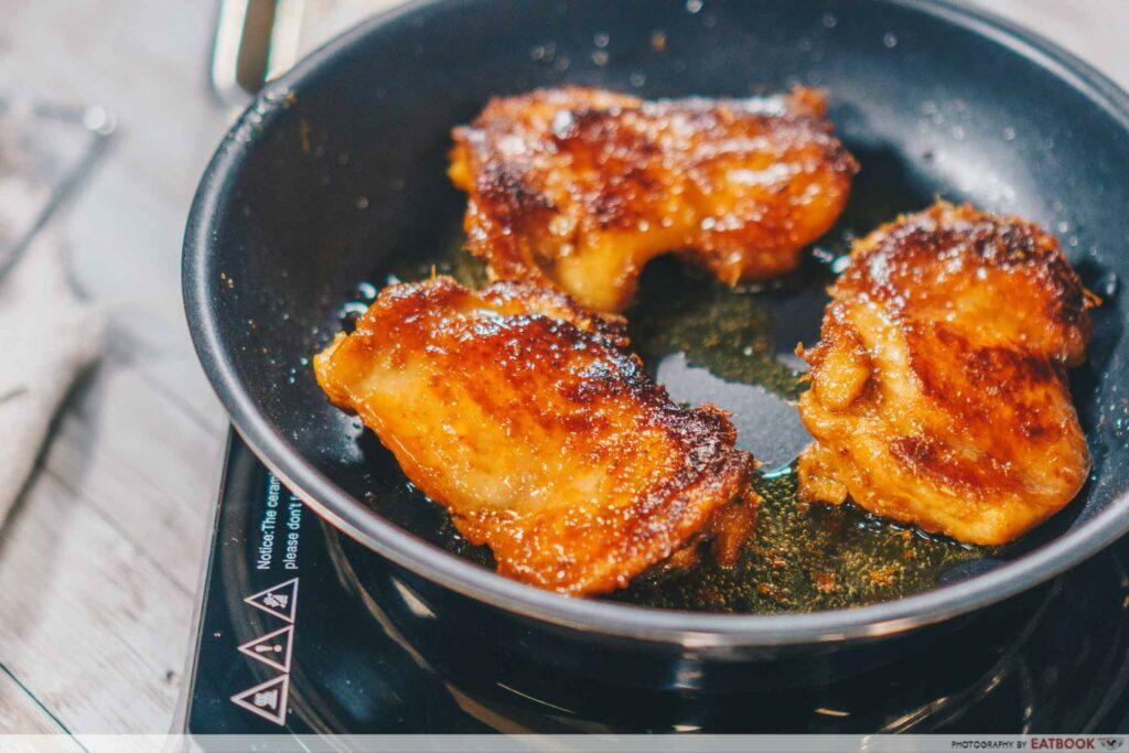 chicken on pan