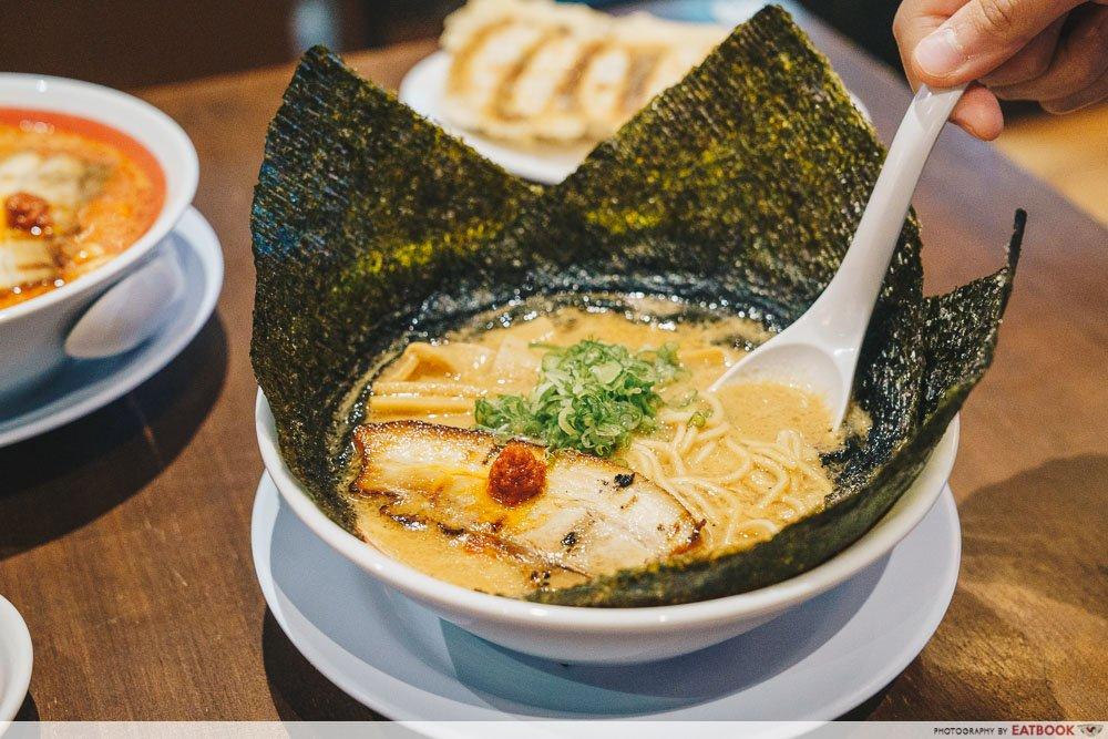 Nori Tama Uma with spoon in soup