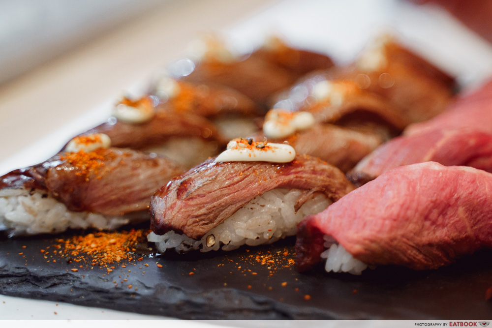 Beef sushii on a platter