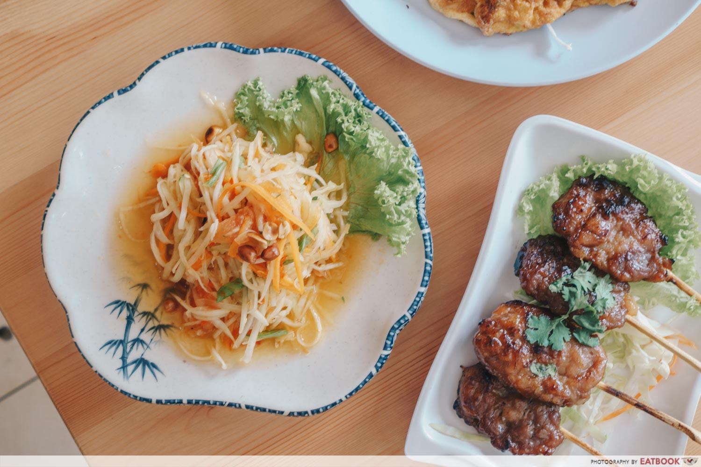 Tuk Wan Kitchen - Papaya Salad and Pork Skewer