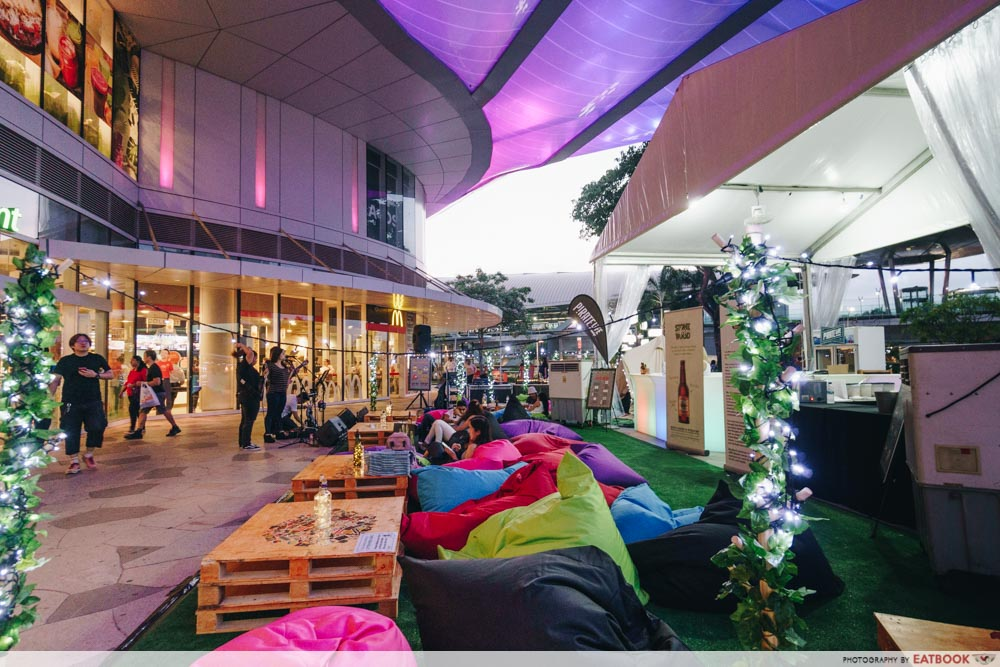 colourful beanbags facing the mall